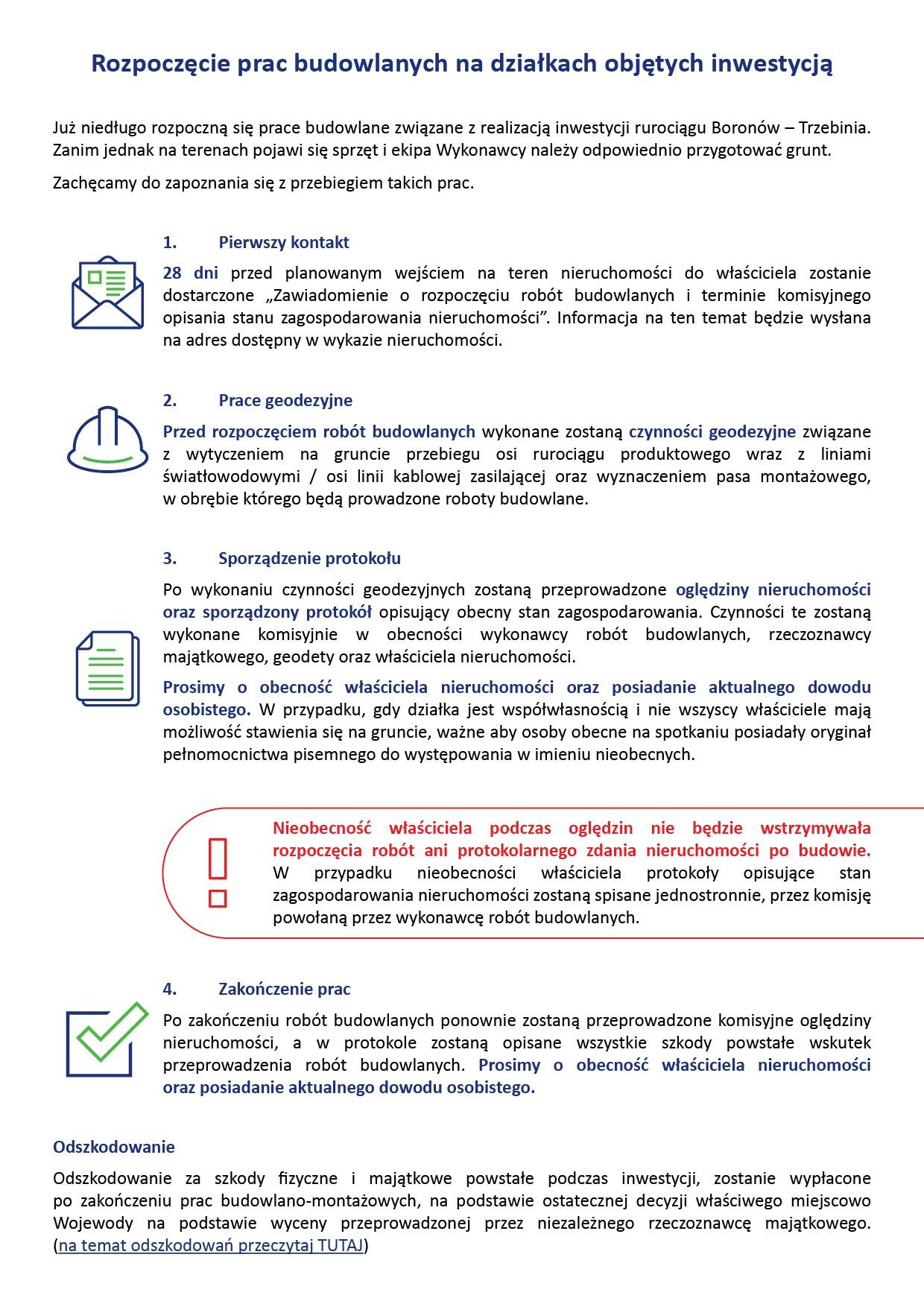 Komplet decyzji administracyjnych, Rozpoczęcie prac budowlanych na działkach objętych inwestycją